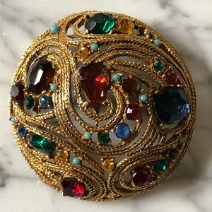 Vintage Multi-Colored Gemstone Gold Tone Brooch